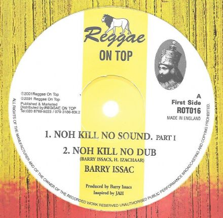 "Barry Issac - Noh Kill No Sound. part 1 / dub (Reggae On Top) 12"" WHITE VINYL!"